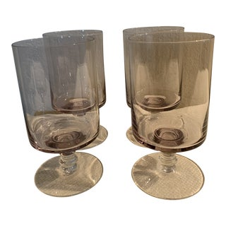 Mid-Century Lavender Colored Stem Glassware - Set of 4 For Sale