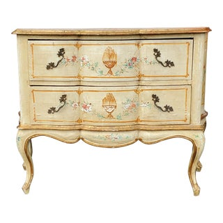Early 20th Century Antique Italian Louis XV Style Painted Commode Dresser For Sale