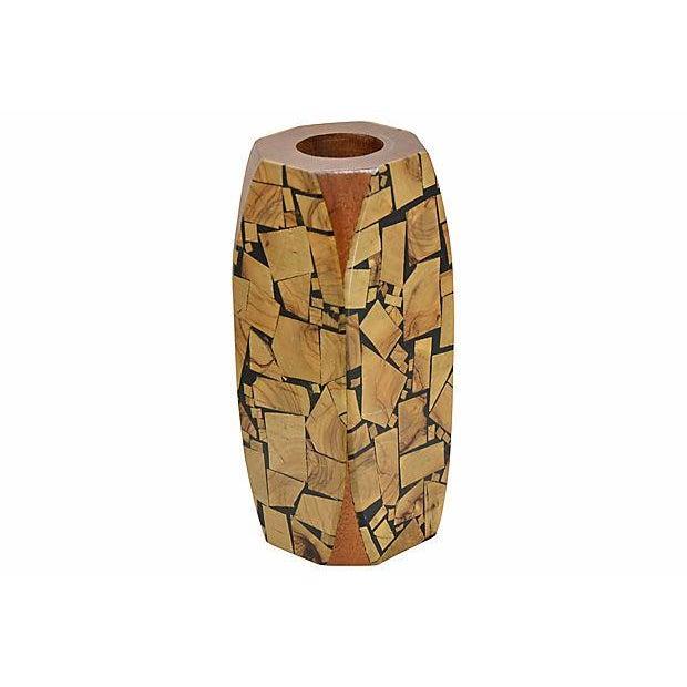 Mosaic 1960s Brutalist Mosaic Wood Vase For Sale - Image 7 of 7