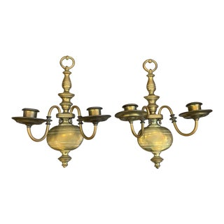 Antique Baluster Brass Sconces - a Pair For Sale