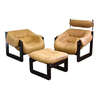 Percival Lafer Leather Lounge Chairs and Ottoman For Sale