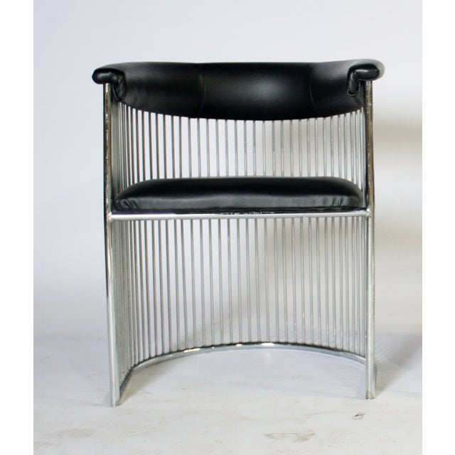 Platner Style Chrome & Black Vinyl Chairs - A Pair - Image 6 of 8