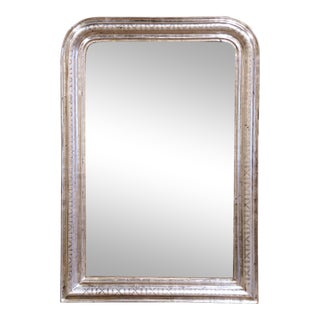 19th Century French Louis Philippe Silver Leaf Mirror For Sale