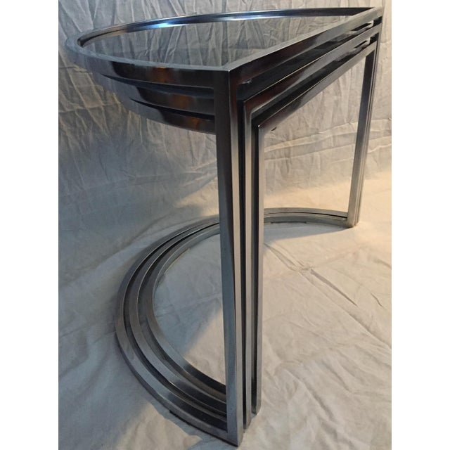 Mid-Century Modern Late 20th Century Italian Chrome & Smoke Glass Nesting Tables - Set of 3 For Sale - Image 3 of 12