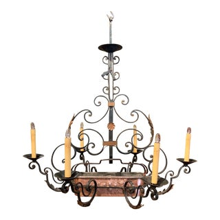 Early 20th Century Painted Iron Six-Light Chandelier With Copper Jardinière For Sale