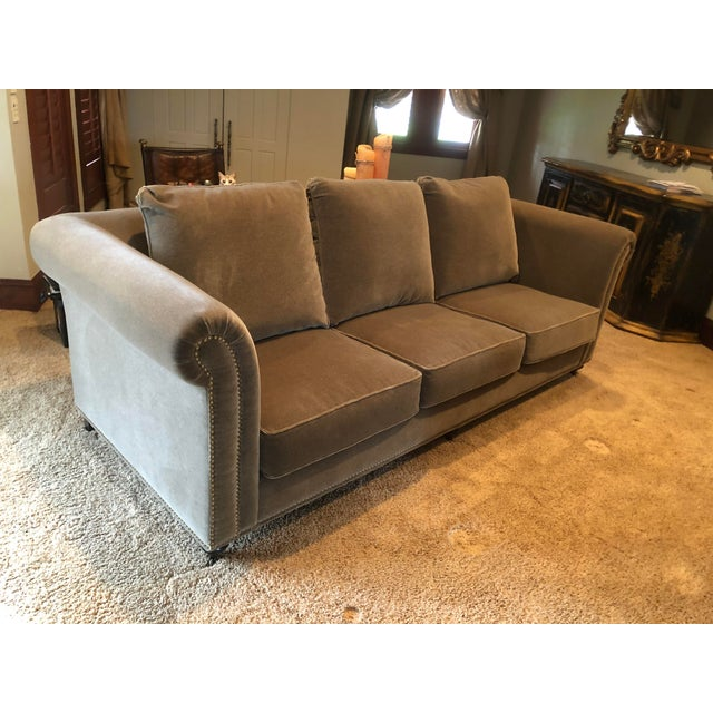 Contemporary 3 Seat Custom Natural Mohair Sofa For Sale - Image 3 of 11