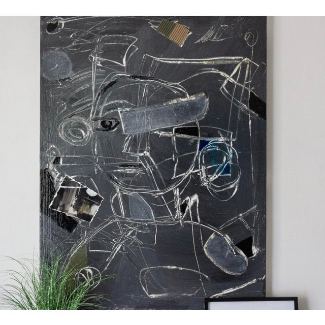 Large, gestural painting by artist Joe Turner. This is a textured mixed media painting on canvas with a high gloss varnish...