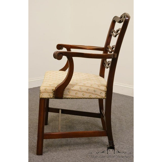 1940s 1940's Traditional Duncan Phyfe Mahogany Ladderback Dining Arm Chair For Sale - Image 5 of 8