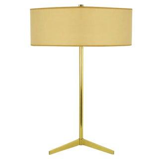 Lightolier Elegant Modern Brass Tripod Base Table Lamp For Sale