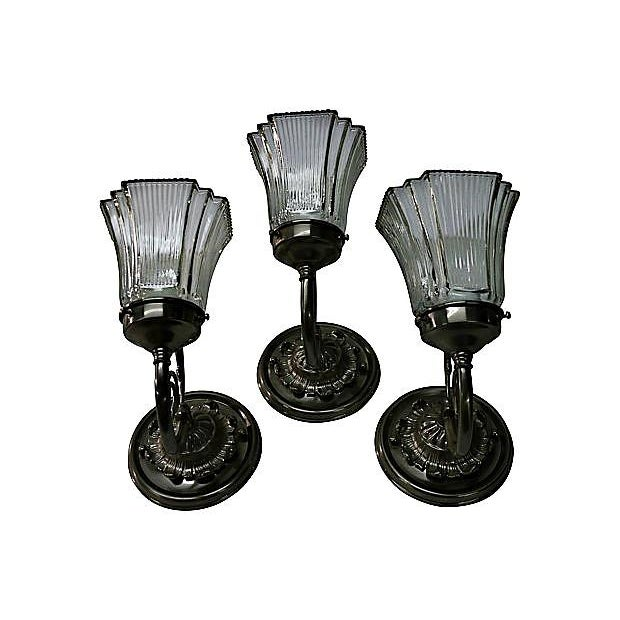 White Brass Sconces - Set of 3 - Image 4 of 7