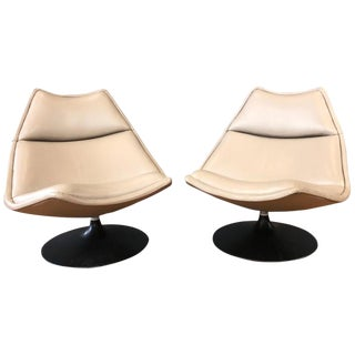 Pair of Geoffrey Harcourt for Artifort F511 Leather Swivel Lounge Chairs, 1970s For Sale