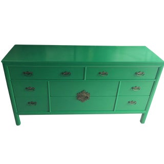 1970s Chinoiserie Century Furniture Green Chest For Sale