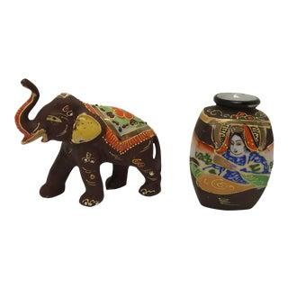 Early 20th Century Satsuma Vase & Elephant Figurine- Set of 2 For Sale
