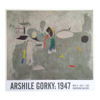 "Arshile Gorky Lithograph Print Gagosian Gallery Exhibition Abstract Expressionist Poster "" the Limit "" 1947 For Sale"