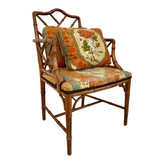1970s Vintage Faux Bamboo Chinese Chippendale Chair For Sale