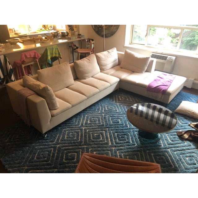 """Beautifully maintained Ligne Roset Feng Sectional is custom fabric from Ligne Roset. 121"""" length x 27"""" height x 38"""" depth..."""