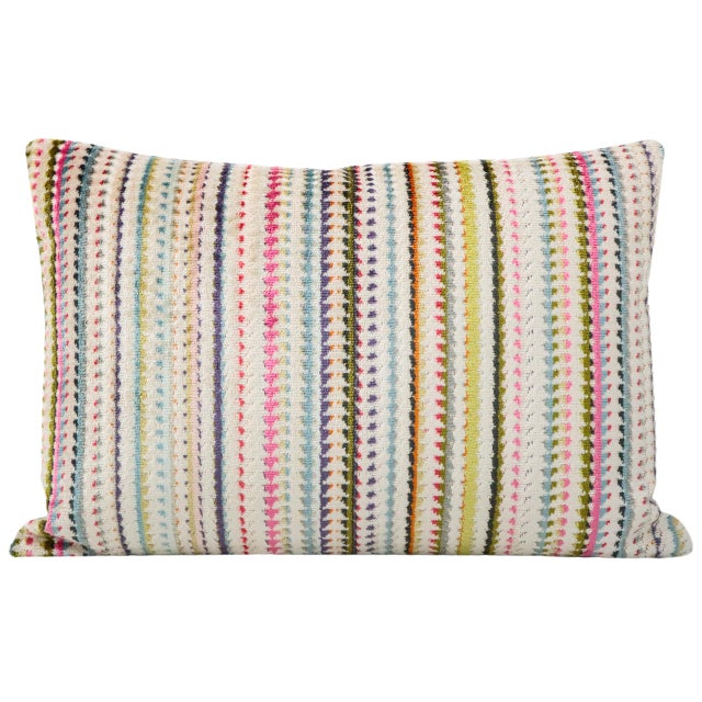 Pair of custom-made pillows in Tribeca Cut Velvet in the Multi colorway. Coordinating solid off-white Velvet reverse....