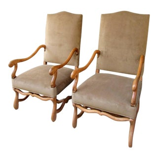 Pair of 19th Century French Louis XIII Fruitwood Armchairs with New Upholstery For Sale