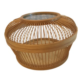 Vintage Wooden Lidded Basket For Sale