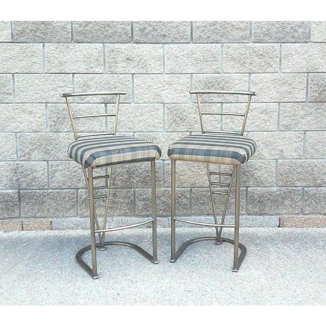 Milo Baughman Bar Stools -- A Pair - Image 2 of 10