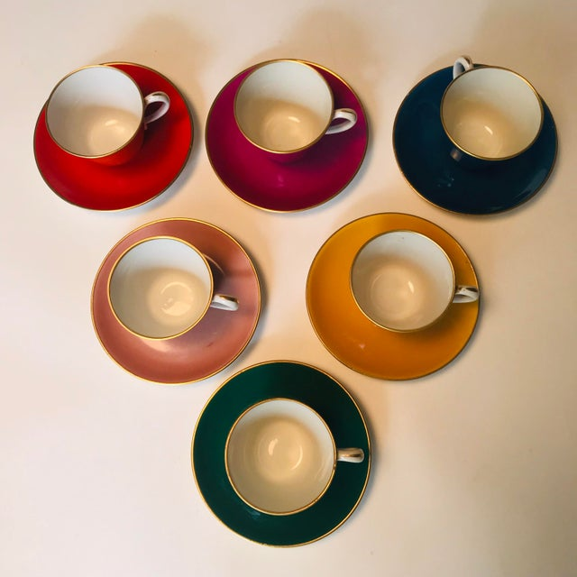 A rare find! Antique Richard Ginori tea cup set in jewel tones. Made in Italy. Set of six tea cups (or demitasse) with...