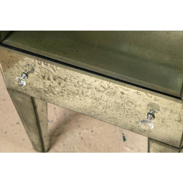 Petite Antiqued Mirrored Nightstands - A Pair - Image 4 of 7