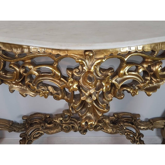 20th Century Italian Baroque Style Carved and Gilded Wood Console Table For Sale - Image 6 of 11