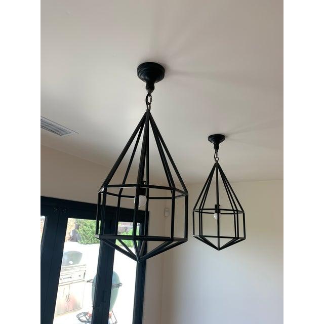 Contemporary Black Teardrop-Shape Lanterns - a Pair For Sale - Image 9 of 9