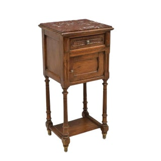 19th Century Henry II French Renaissance Marble Top Side Cabinet Stand For Sale