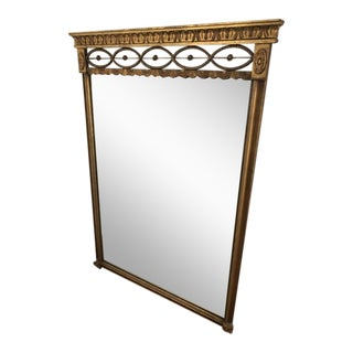 Antique French Empire Carved Gilded Rectangle Mirror For Sale