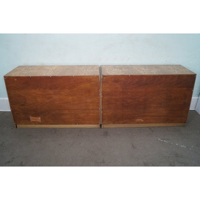 Mid-Century Burl Wood Dressers - A Pair For Sale - Image 5 of 10