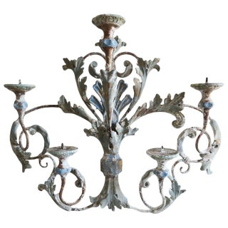 Italian Painted Iron and Wood Acanthus Leaf Wall Decor For Sale