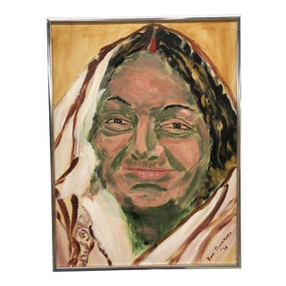 1970s Vintage Native America Portrait Painting For Sale