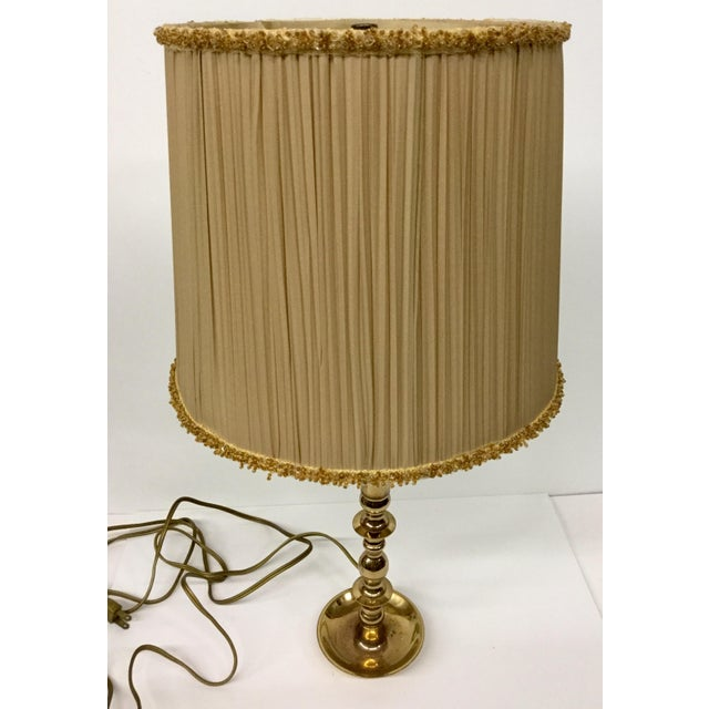 Vintage Baldwin Solid Brass Candlestick Table Lamp For Sale - Image 10 of 13