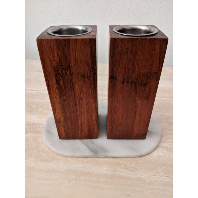 1960s Organic Modernist Minimalist Wood Block Tealights, a Pair For Sale - Image 5 of 10