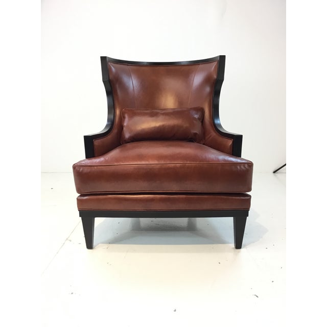 Stylish Transitional Thomasville Burnt Sienna Leather Capricorn Club Chair, black wood frame, lumbar pillow, showroom...