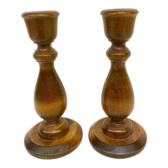 Vermont Wooden Candlesticks - A Pair For Sale