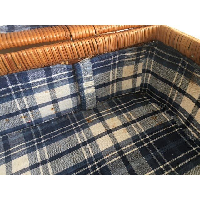 Blue Plaid-Lined Rattan Picnic Basket - Vintage - Image 10 of 11