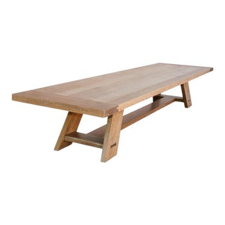Farmhouse Large Banquet Table Made From Rift Sawn White Oak For Sale