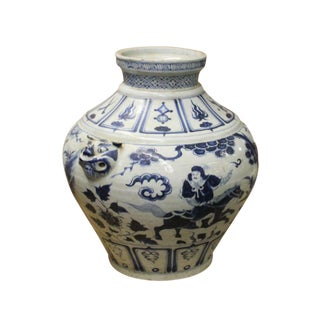 Chinese Blue White Porcelain People Scenery Fat Body Vase Jar For Sale