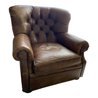 Classic Ralph Lauren Leather Club Chair For Sale