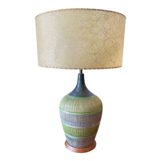 Quartite Creative Corp Green Ridged Striped Ceramic Table Lamp with Fiberglass Shade For Sale