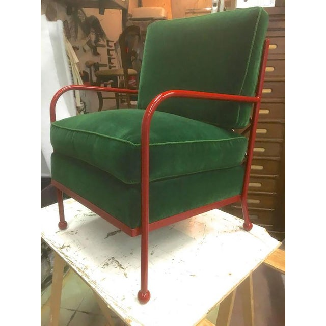 1950s Jean Royère Pair of Croisillon Armchairs in Red Lacquered Wrought Iron For Sale - Image 5 of 9