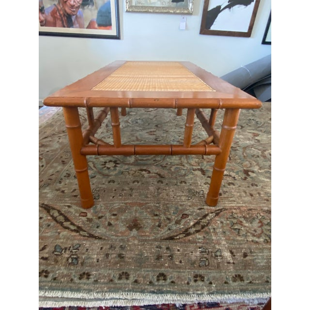 Wood 1970s Faux Bamboo and Ratan Coffee Table For Sale - Image 7 of 8