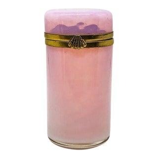 Vintage Pink Opaline Lidded Cylinder Box