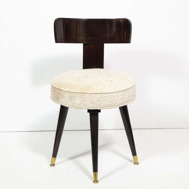 1950s Mid-Century Modern Ebonized Walnut and Gauffraged Oyster Klismos Vanity Chair For Sale - Image 5 of 10