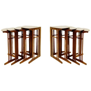 Pair of Four Nesting Mahogany Corner Tables, Bach, 1903 Gustave Serrurier-Bovy For Sale
