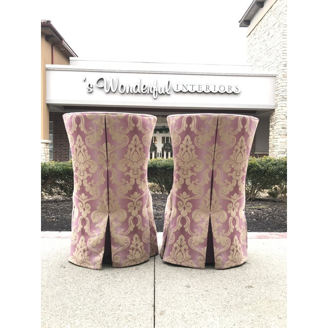 1940s Vintage Lee Jofa Host Dining Chairs Pink Ombre Damask - a Pair For Sale - Image 4 of 12