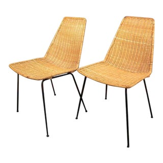 Vintage Mid-Century Modern Wicker Chair With Iron Legs - Pair