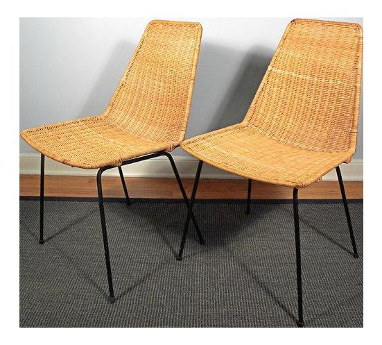 Vintage Mid Century Modern Wicker Chair With Iron Legs   Pair